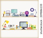 office workspace   Shutterstock .eps vector #209886133