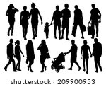 walking people silhouettes set | Shutterstock .eps vector #209900953
