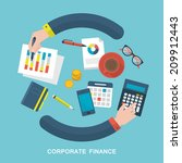 Flat vector illustration of corporate finance concept | Shutterstock vector #209912443