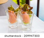 salmon rolls as tapas | Shutterstock . vector #209947303