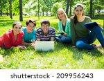 group of students studying... | Shutterstock . vector #209956243