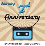 2 year anniversary retro label  ... | Shutterstock .eps vector #209983993