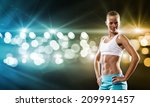 sport woman in shorts and top... | Shutterstock . vector #209991457