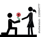a man kneels in front of a girl.... | Shutterstock .eps vector #210004777