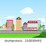 road color house illustration | Shutterstock .eps vector #210030493