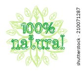 inscription 100  natural.... | Shutterstock .eps vector #210071287