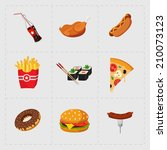 Colorful Fast Food Icon Set on White Background