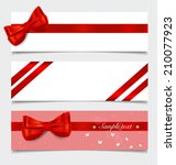 card note with gift bows and... | Shutterstock .eps vector #210077923