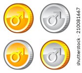 set of game coins with male sign