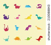 abstract set of cute dinosaurs... | Shutterstock .eps vector #210088843
