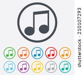 music note sign icon. musical... | Shutterstock .eps vector #210107293