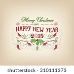 vintage christmas and happy new ... | Shutterstock .eps vector #210111373