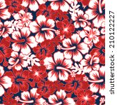 a surf floral hibiscus seamless ... | Shutterstock . vector #210122227