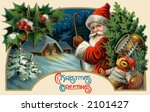 'Christmas Greetings' - Santa Claus making a delivery - circa 1914 vintage greeting card illustration. - stock photo