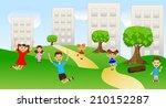 children play the green lawn... | Shutterstock .eps vector #210152287