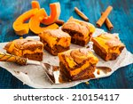 Pumpkin Swirl Brownies On Blue...