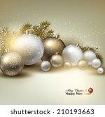 christmas balls  golden xmas... | Shutterstock .eps vector #210193663