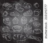 vector hand drawn bakery  cakes ... | Shutterstock .eps vector #210193777
