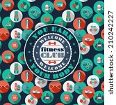fitness icons background | Shutterstock .eps vector #210242227