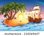 illustration of the island with ... | Shutterstock .eps vector #210269647
