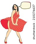 Pinup Female Red Dress In The...