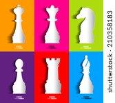 sets of papercut chess icon ...