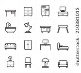 flat line icons for furniture...