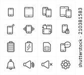 flat line icons for mobile... | Shutterstock .eps vector #210381583