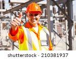happy senior power company... | Shutterstock . vector #210381937