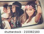 multi ethnic hippie friends in... | Shutterstock . vector #210382183