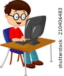 kid with personal computer | Shutterstock . vector #210406483
