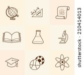 set of cartoon school icons | Shutterstock .eps vector #210414013