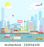 vector flat city background | Shutterstock .eps vector #210416143