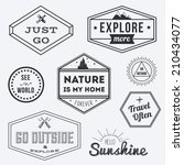 set of vintage adventure badges ... | Shutterstock .eps vector #210434077