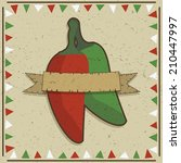 mexican styled frame with chili ... | Shutterstock .eps vector #210447997