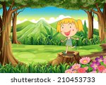 illustration of a stump with a... | Shutterstock . vector #210453733