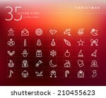 christmas outline icons set for ...