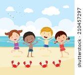 happy kids on the beach. kids... | Shutterstock .eps vector #210457297