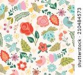 beautiful floral seamless... | Shutterstock .eps vector #210484573