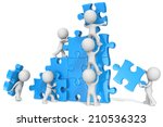 teamwork. the dude x 7 building ... | Shutterstock . vector #210536323