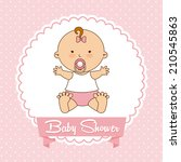 baby design over pink... | Shutterstock .eps vector #210545863