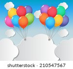 balloons and clouds on summer... | Shutterstock .eps vector #210547567