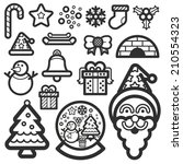 christmas icon black color | Shutterstock .eps vector #210554323