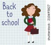 schoolgirl in socks | Shutterstock .eps vector #210695827