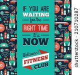 poster with fitness icons....   Shutterstock .eps vector #210710287