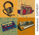 old headphones  ghetto blaster  ... | Shutterstock .eps vector #210748297