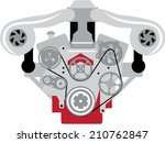 Engine Twin Turbo Vector - stock vector