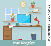 home workplace flat vector... | Shutterstock .eps vector #210772423