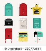 Vector Mail Boxes Cute Flat...