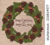 christmas wreath with brown... | Shutterstock .eps vector #210819577